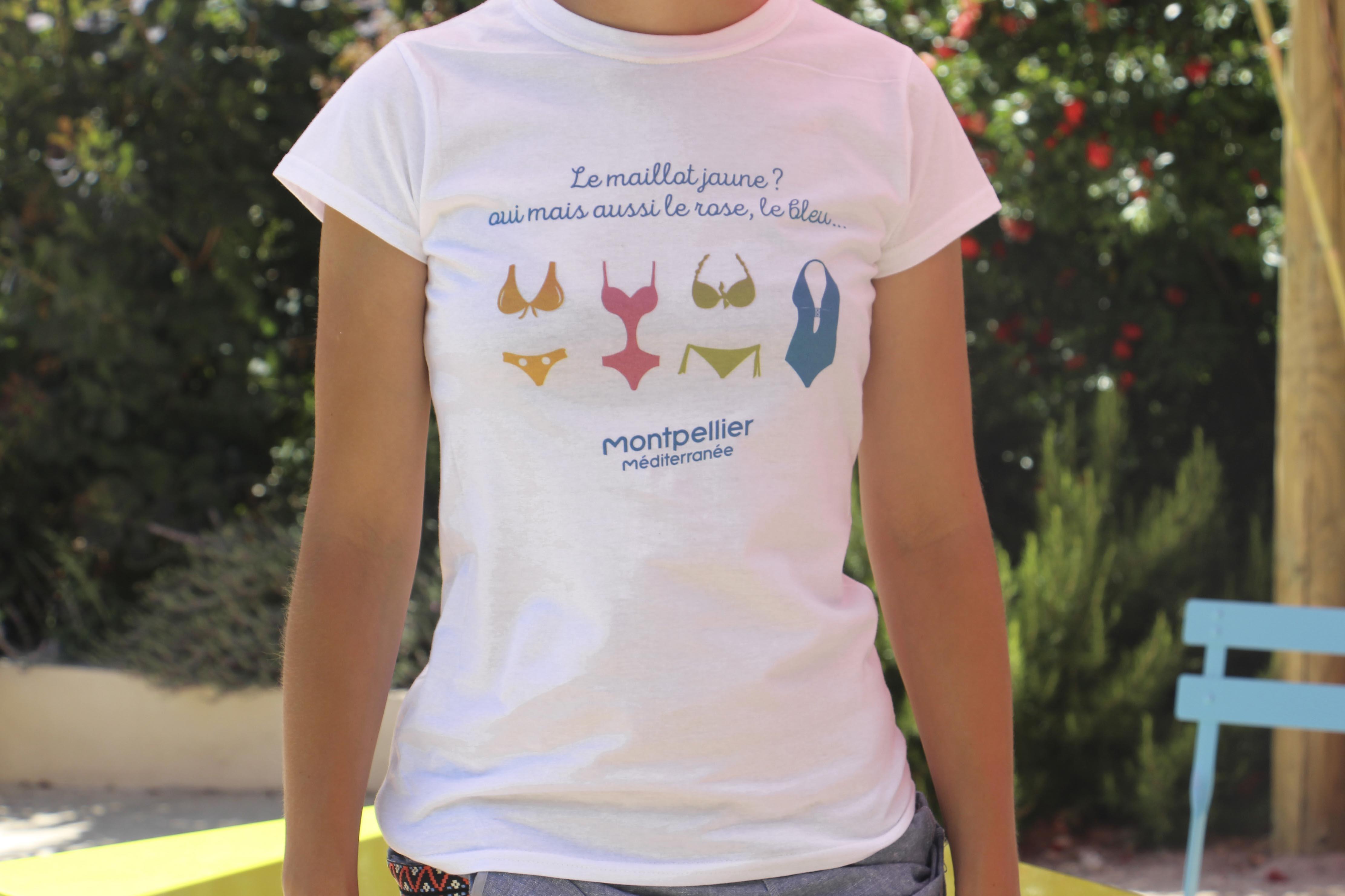 t-shirt femme Montpellier Méditerranée - Le maillot jaune ? Oui mais aussi le rose, le bleu