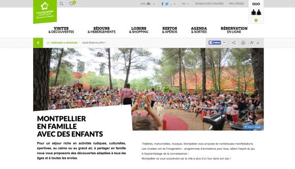 Page d'accueil de l'espace famille de site internet de l'OT de Montpellier Méditerranée Métropole